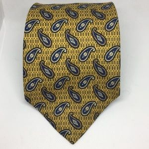 Perry Ellis Silk Gold and Blue Paisley Tie